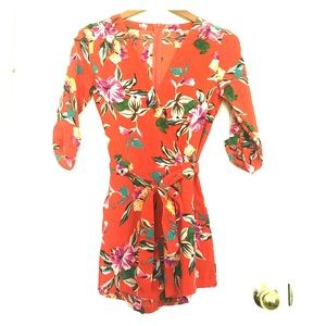 Other - Floral Orange Red  Romper - size Small